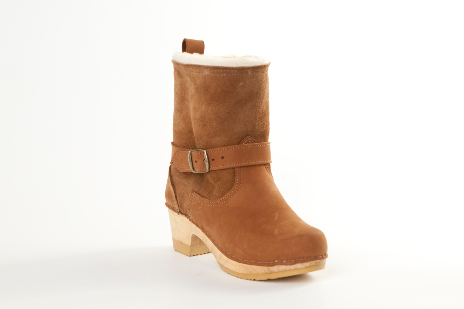 "7"" Shearling Clog Booties - Bendable Mid Heel"