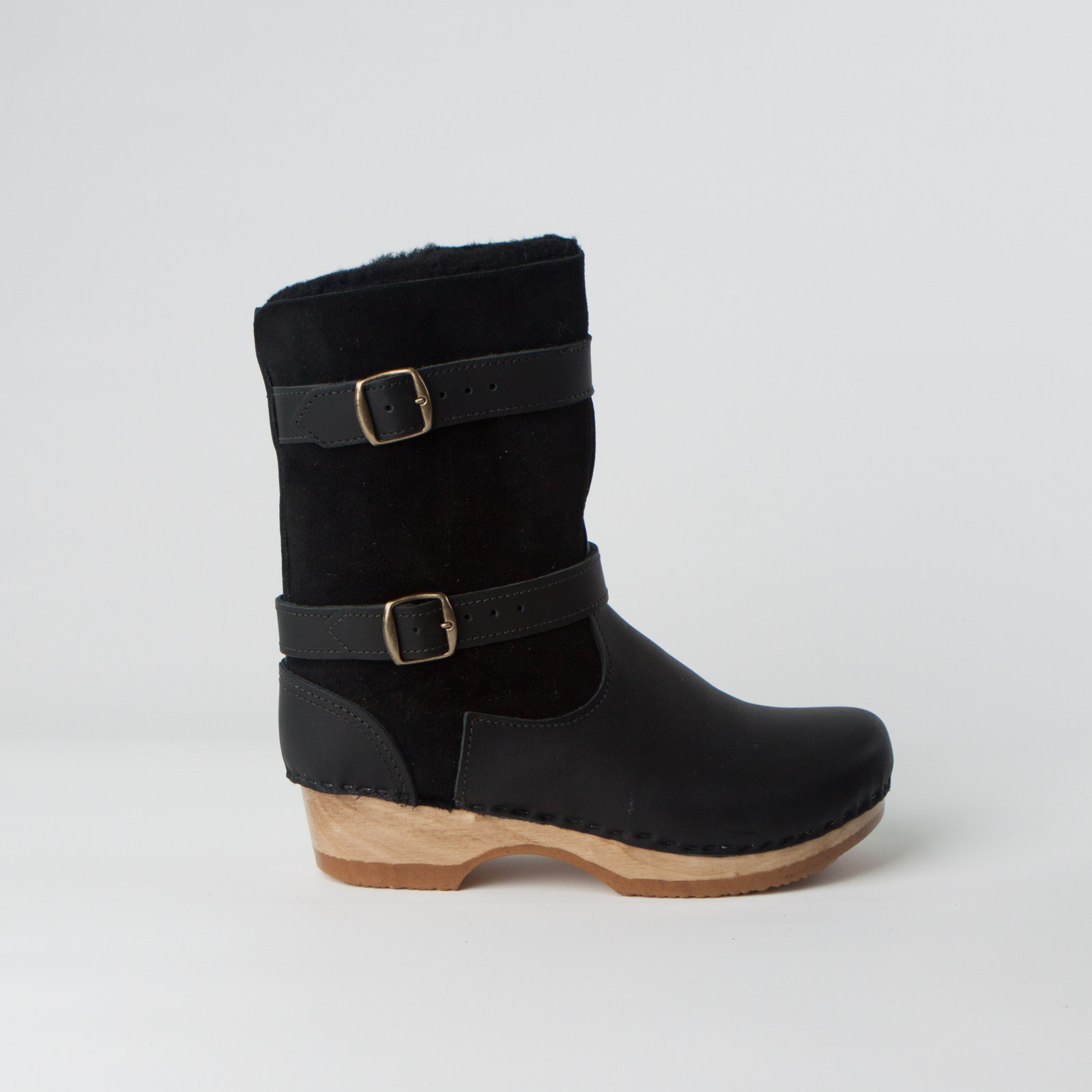 """8"""" Shearling Clog Boots - Double Straps - Low"""