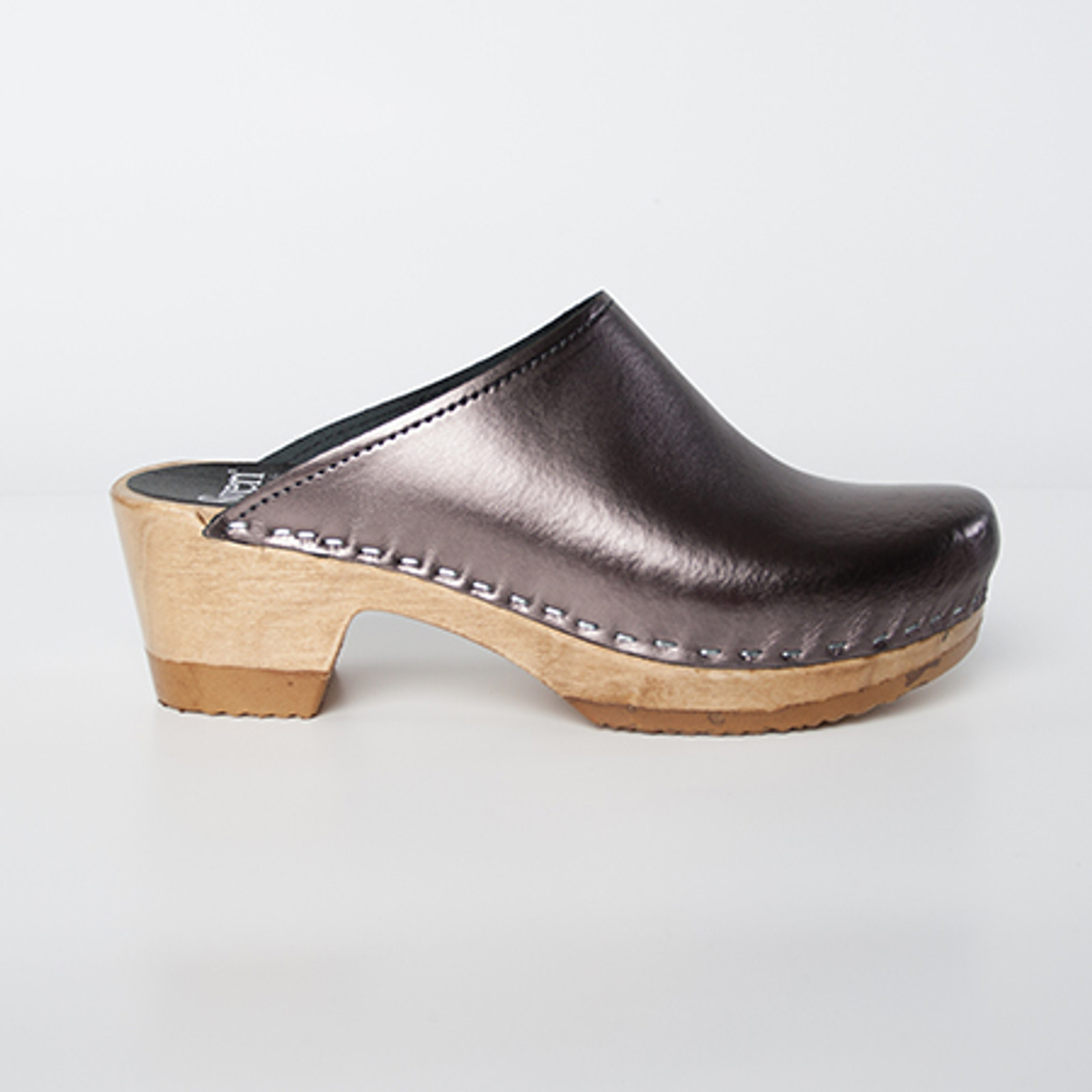 Pewter Metallic Leather with Brown Base