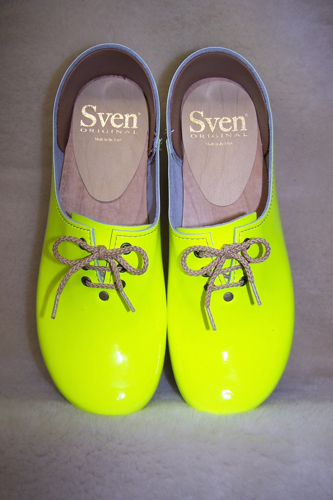 Neon Yellow - Tie Closed Back Clogs