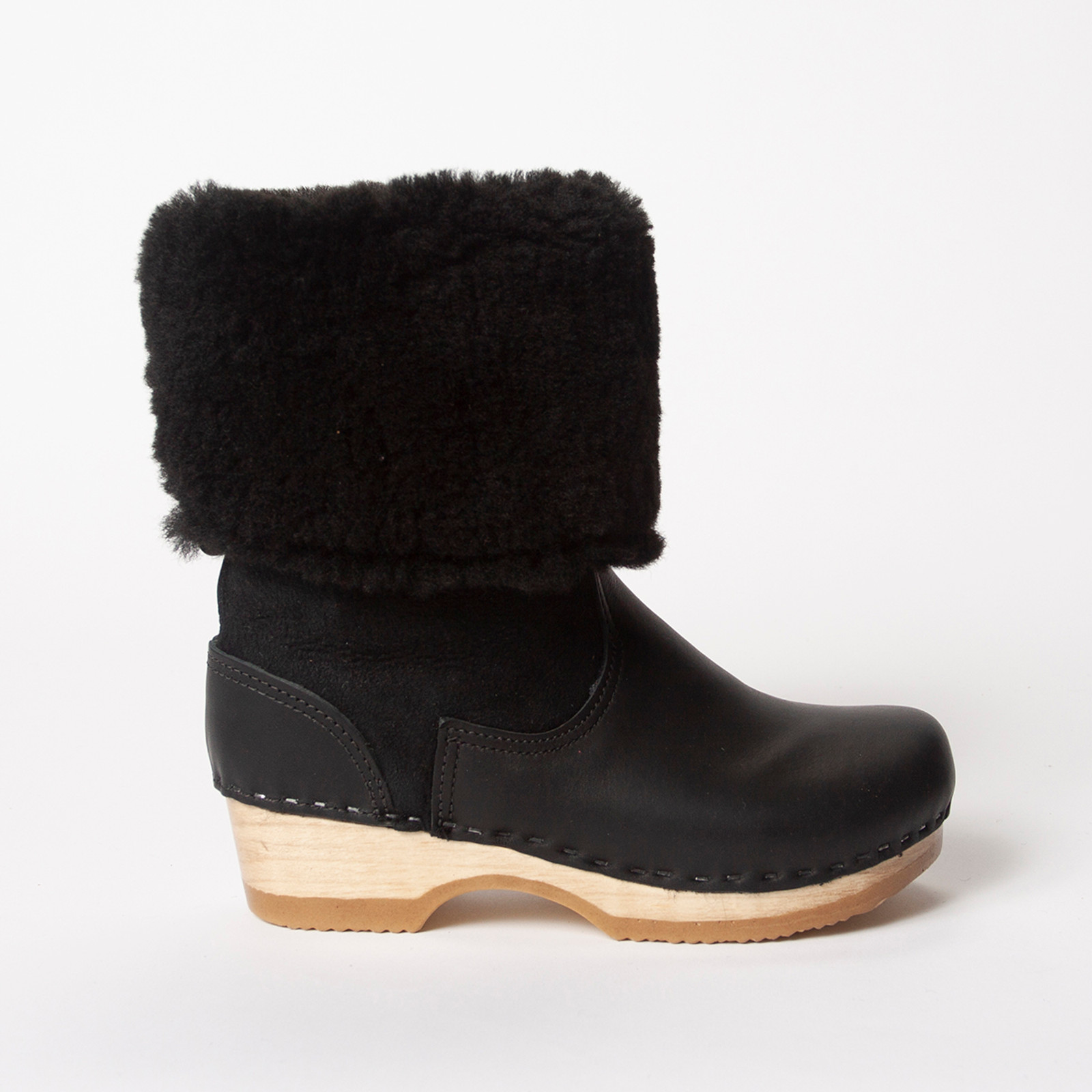 "11"" Shearling Clog Boots - Low Heels"