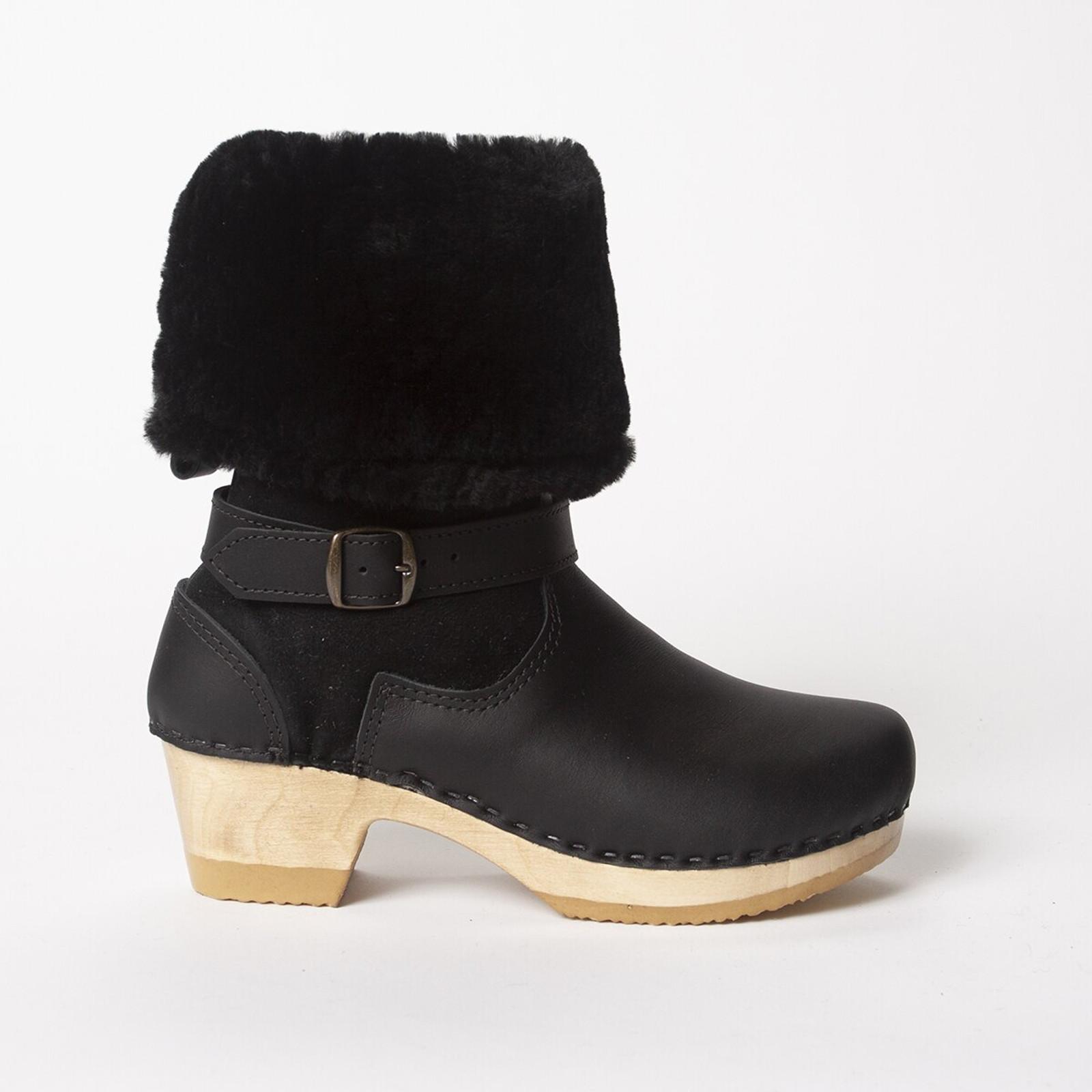 "11"" Shearling Clog Boots -Bendable Mid Heels"