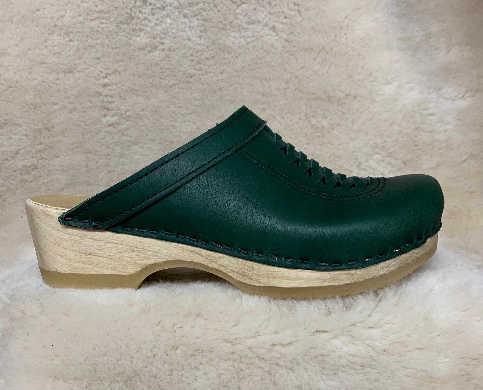 Hunter Green  - Front Weave Clogs