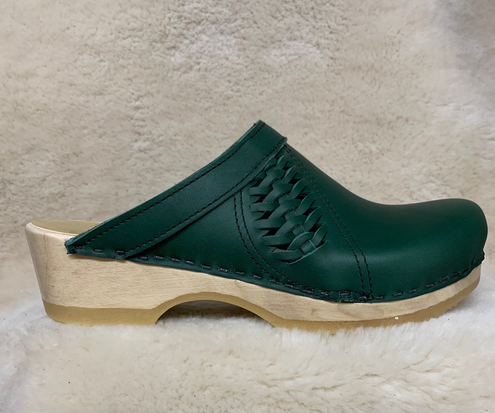Hunter Green  - Side Weave Clogs