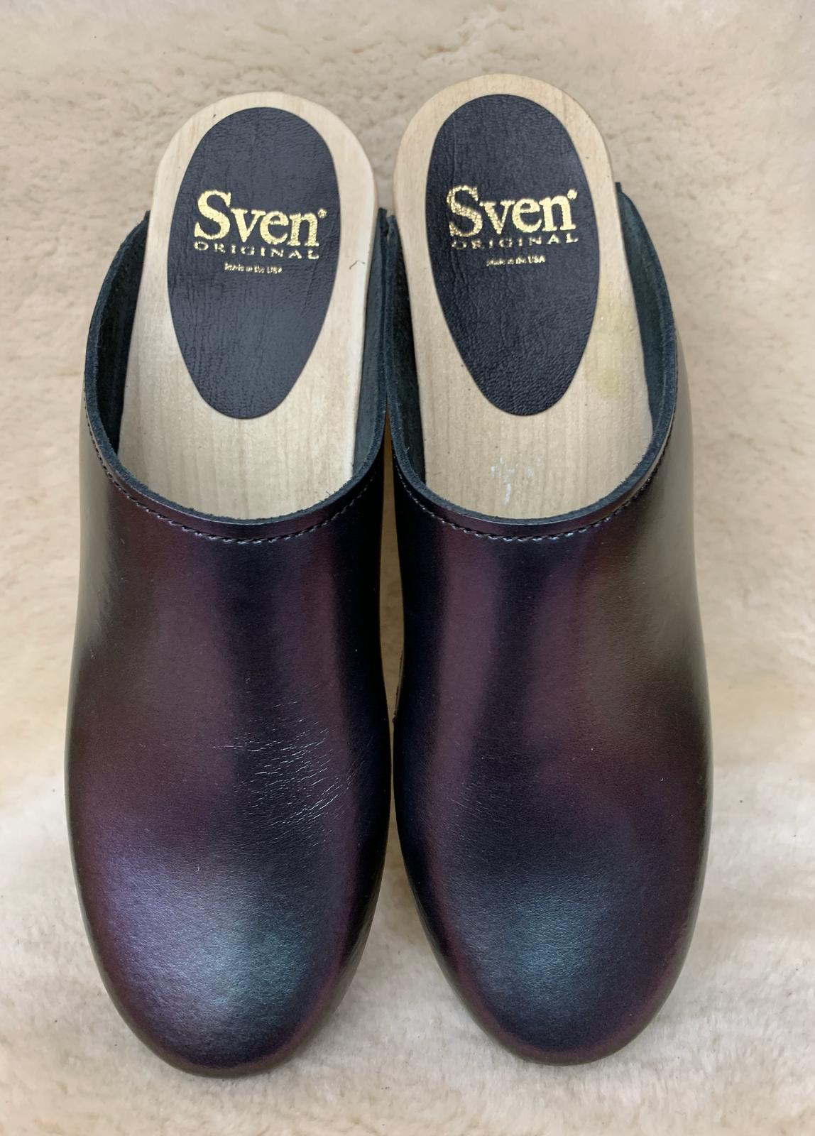Eggplant Iridescent  Mid Heel Clogs