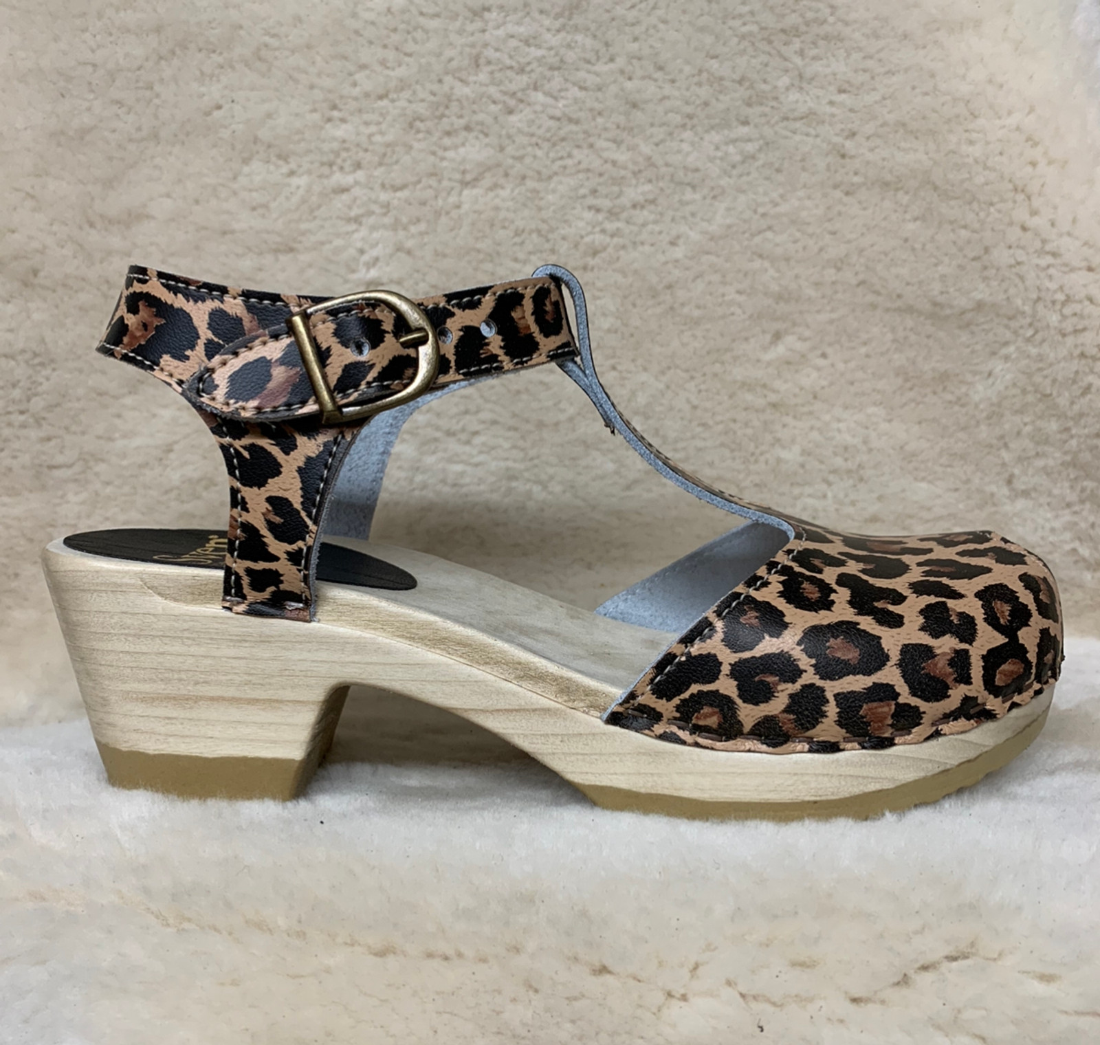 Leopard Print Clogs - T-Straps  - Mid Heels