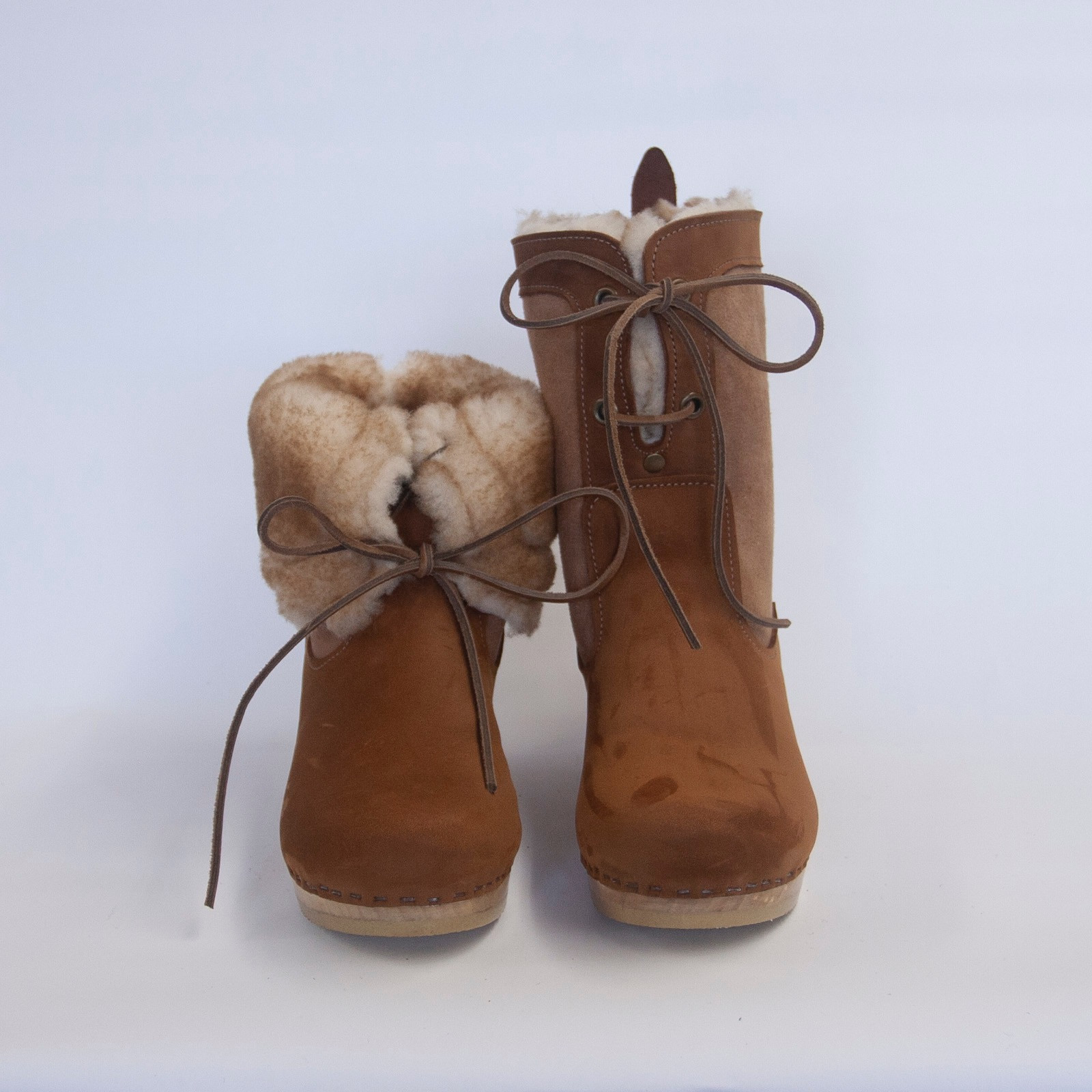 Lace Up Clog Boots - Mid Heels