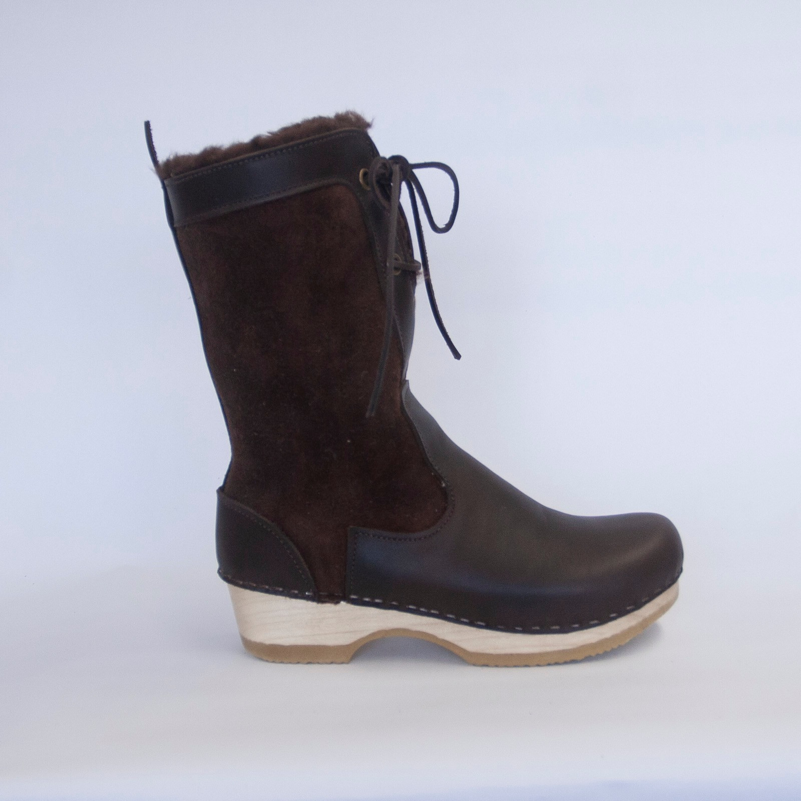 Lace Up Clog Boots - Low Heels