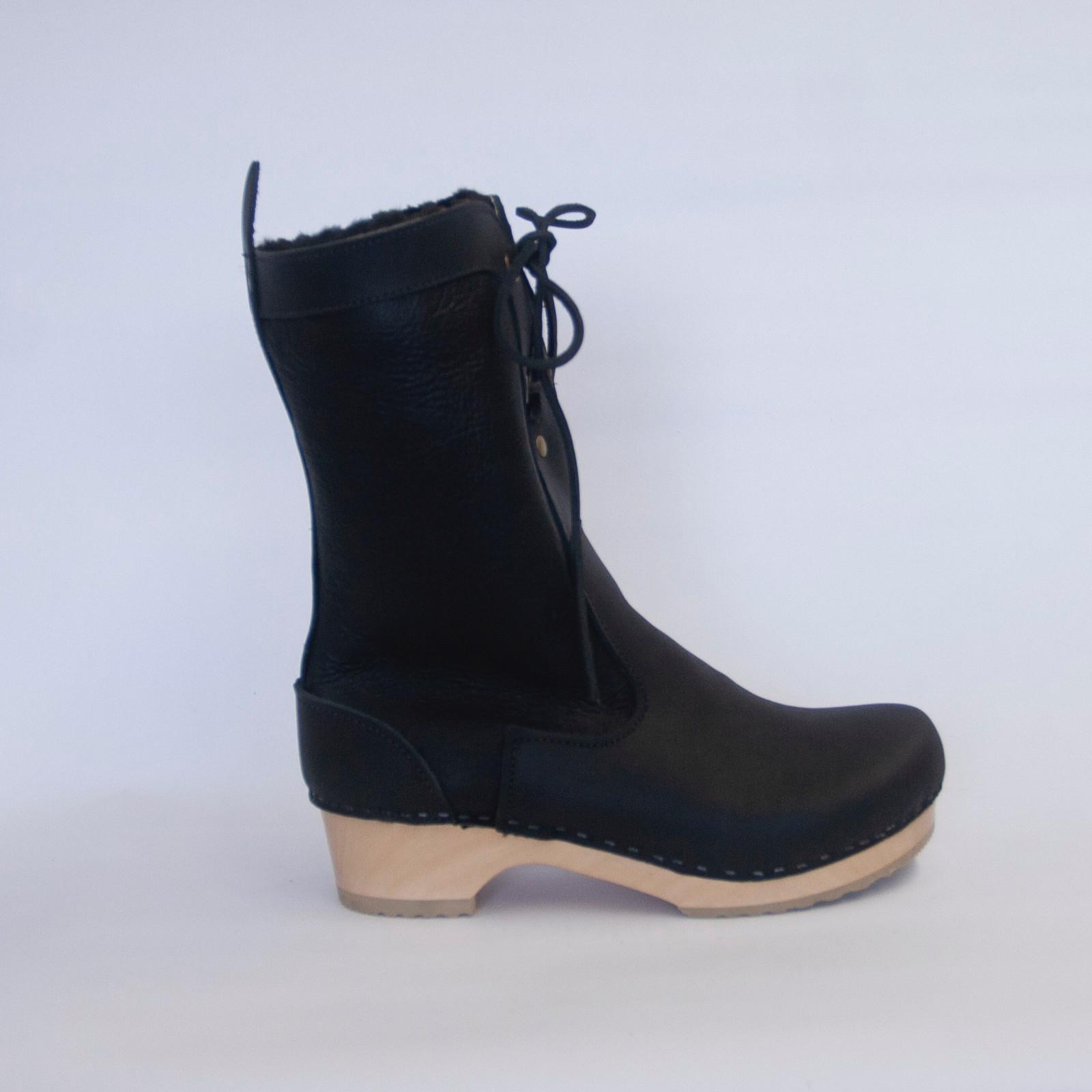 Black Nappa - Lace Up Shearling Clog Boots