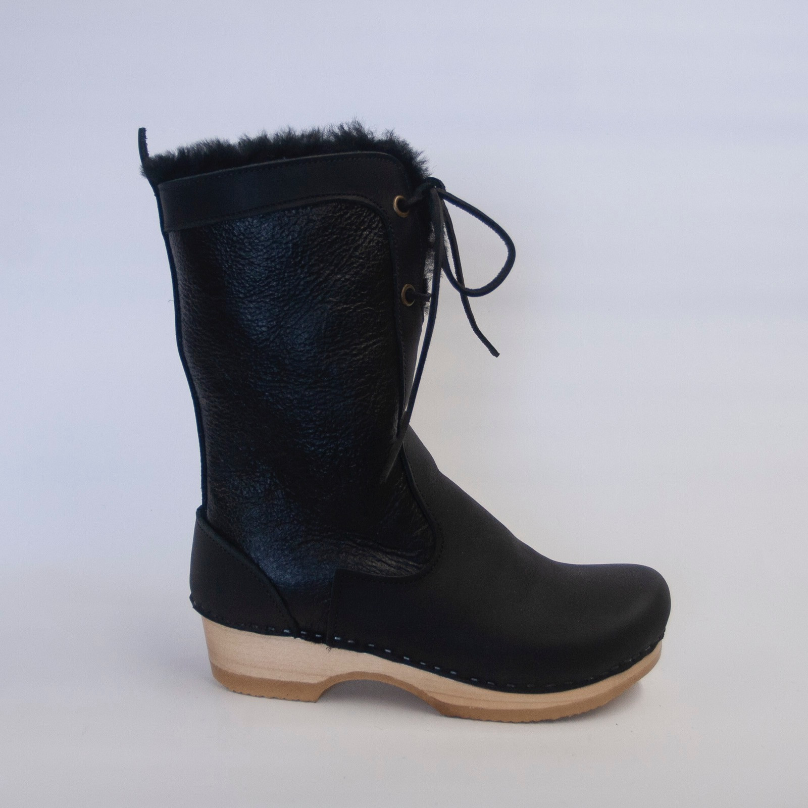 Black Aviator - Lace Up Shearling Clog Boots
