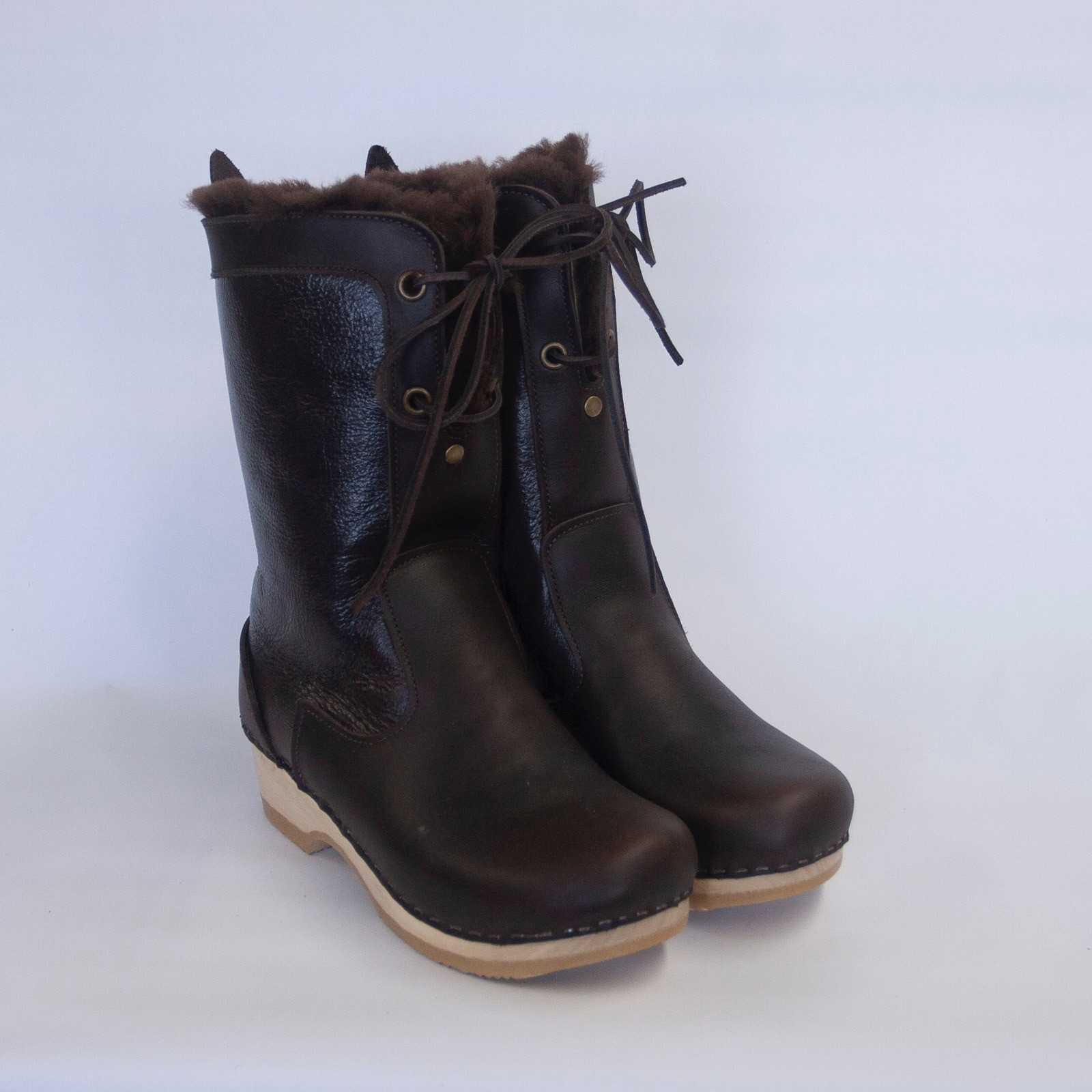 Brown Aviator - Lace Up Shearling Clog Boots