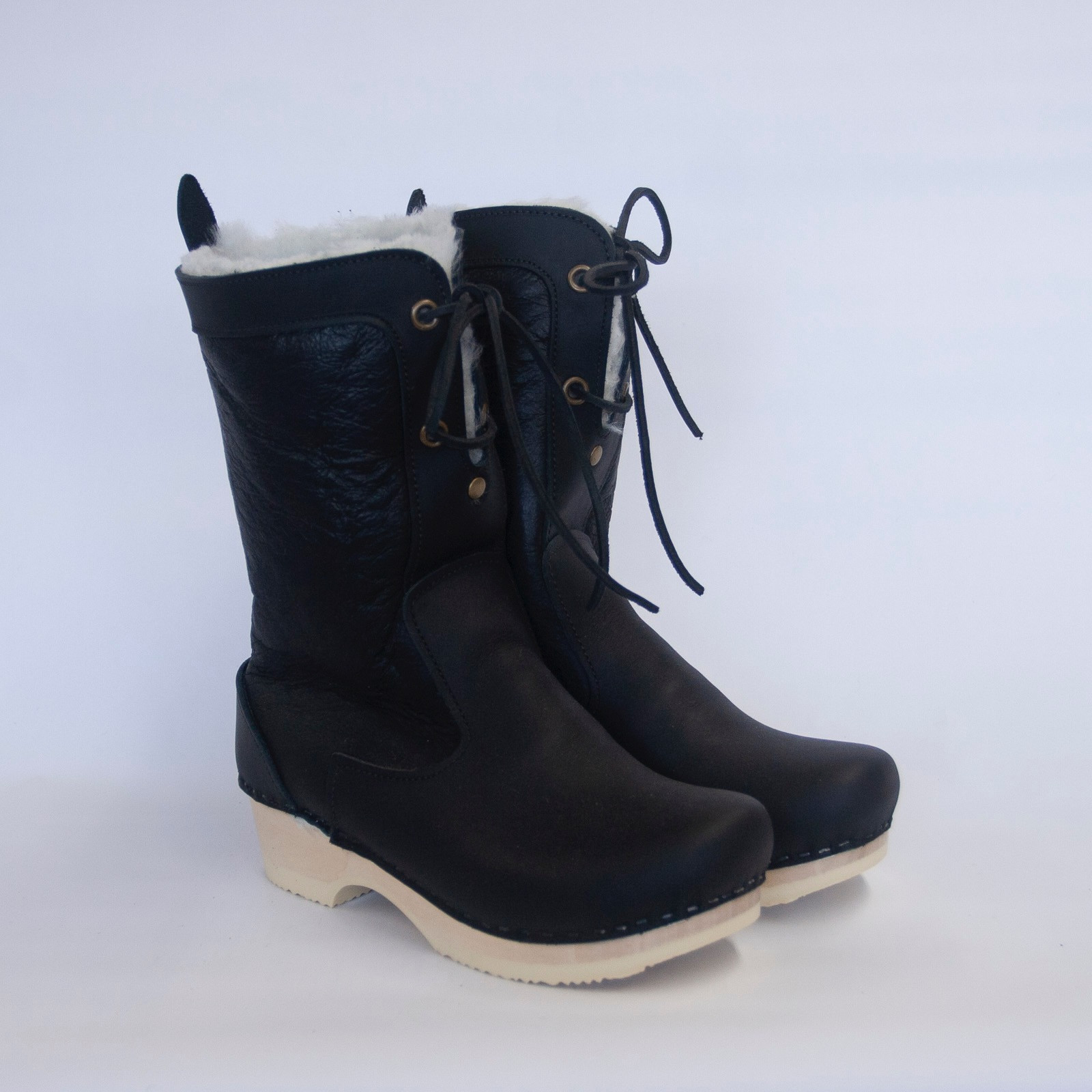 Black on White Nappa - Lace Up Shearling Clog Boots