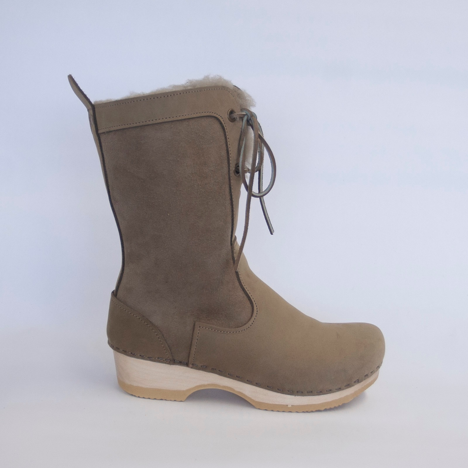 Taupe Shearling - Lace Up Shearling Clog Boots