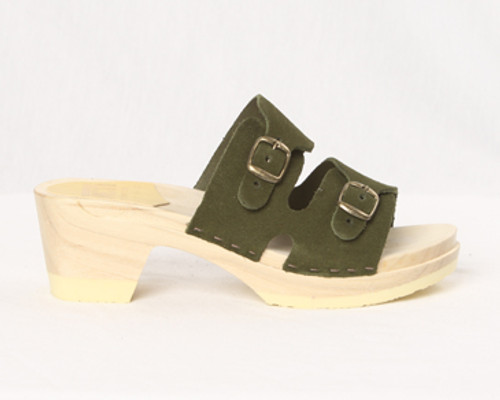 2 Strap Buckle Clogs - Mid Heels