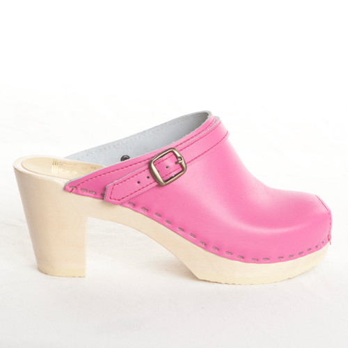 Fuchsia Smooth Leather with Natural Base