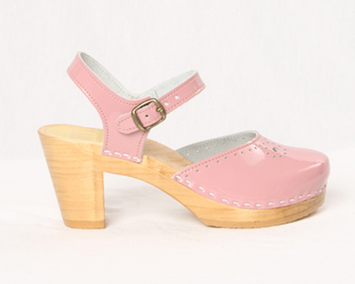 Bubble Gum Patent Leather with Brown Base