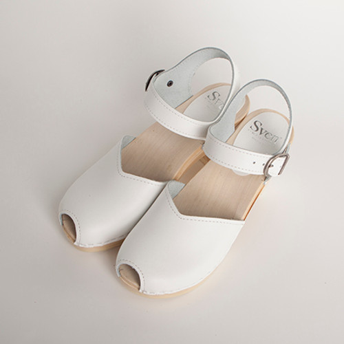 White Smooth Leather with Natural Base