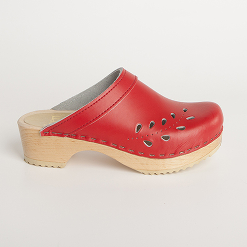 Red Smooth Leather with Natural Base