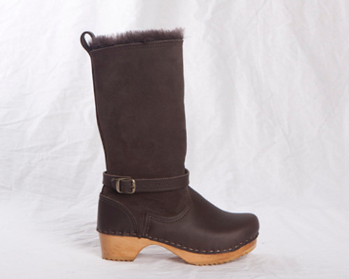 Chocolate Shearling with Fudge Leather