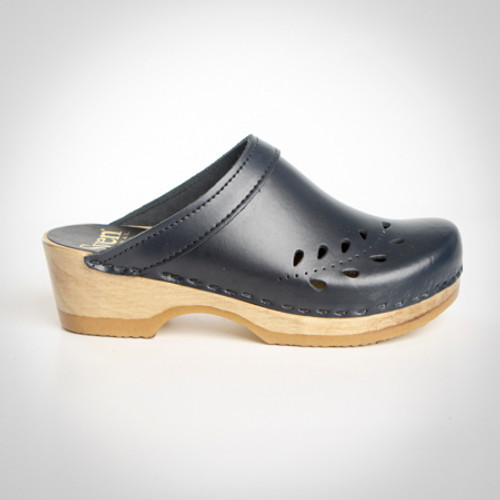 Navy Smooth Leather with Brown Base