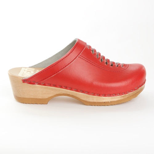 Red Smooth Leather with Brown Base