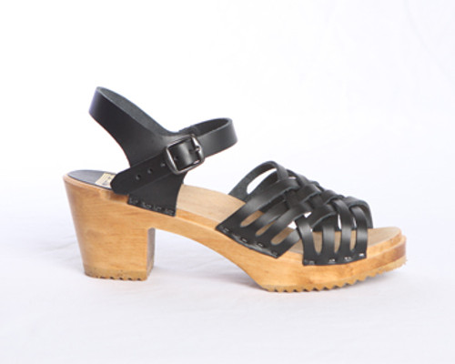 Small Weave Sandal Clogs - Swedish Mid Heels