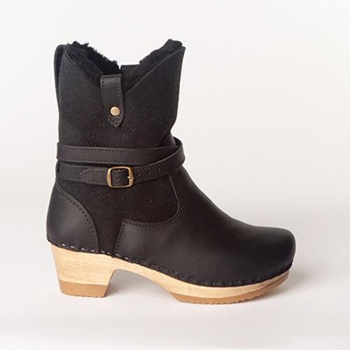 "Lucy - 7"" Shearling Clog Booties - Mid Heel"