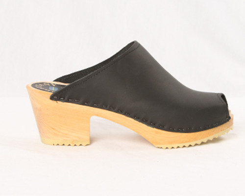 Peep Toe Clogs - Swedish Mid Heels