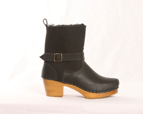 "7"" Shearling Clog Boots - Swedish Mid Heel"