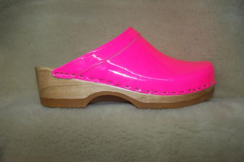 Neon Pink - Plain Clogs - Low Heels