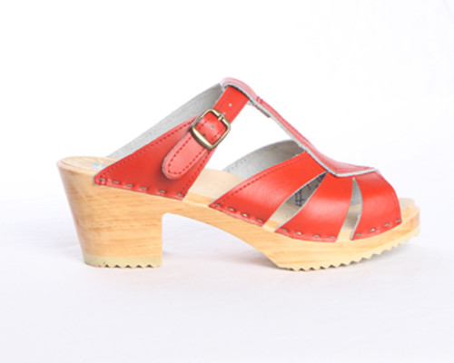 Diamond Strap Clogs - Swedish Mid Heels