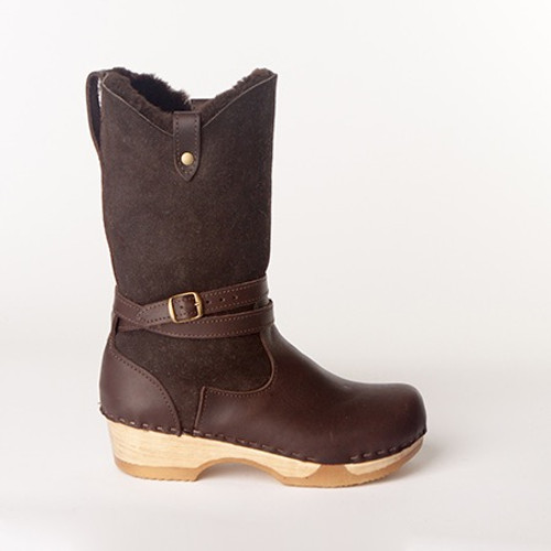 "Lisa - 11"" Shearling Boots - Bendable Low Heel"