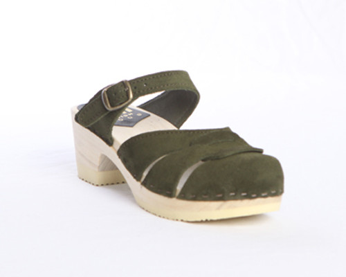 Dark Olive Suede with Natural Base