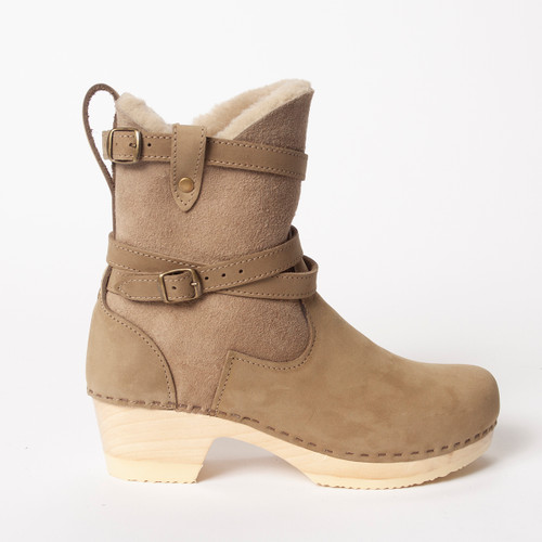 Lucy Clog Booties - Taupe Shearling