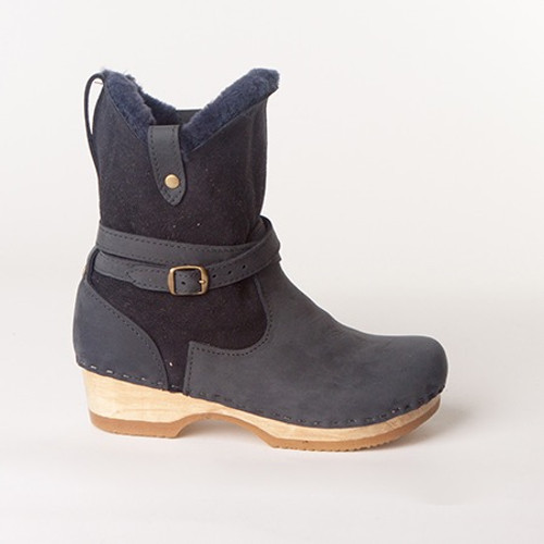 "Lucy Clog Booties  - 7"" Navy Shearling"