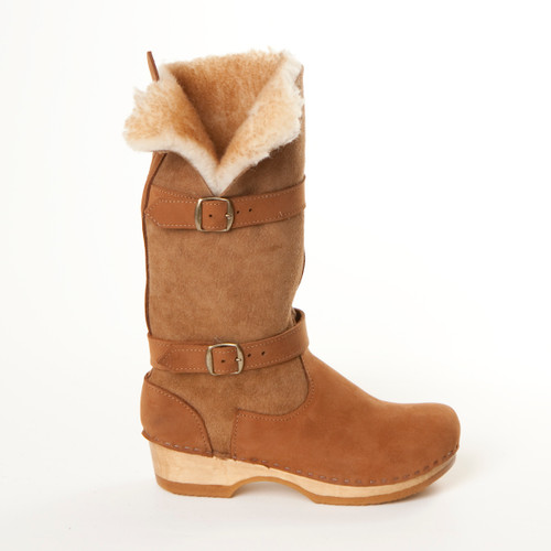 """11"""" Clog Boots Shearling - Double Straps"""