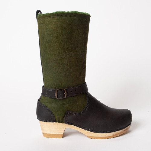 "11"" Green Shearling with Black - Mid Heels"
