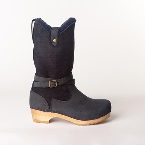 """Lisa - 11"""" Navy Shearling Boots - Swedish"""