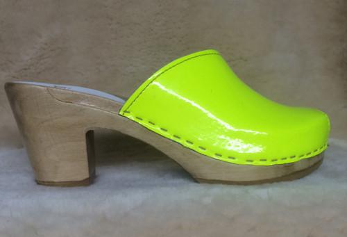 Peep Toe Clogs - Neon Yellow - High Heels