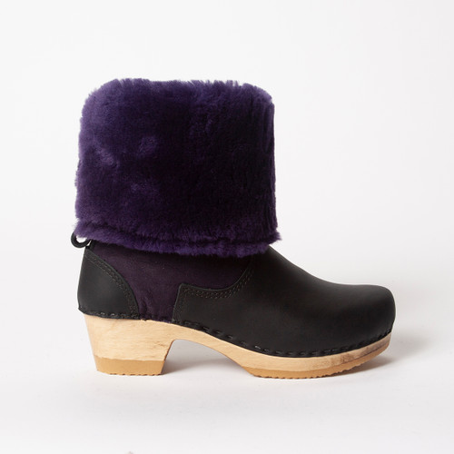 "11"" Purple Shearling with Black  - Mid Heels"