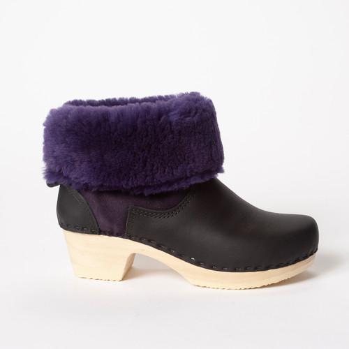 """7"""" Purple with Black - Mid Heels"""
