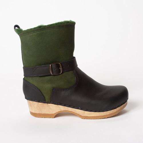 Green Shearling - Black Nu Buc - Brown Base
