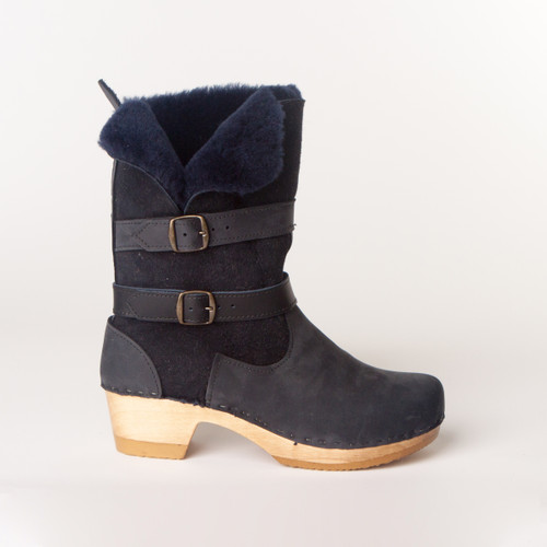 Navy Shearling with Brown Base