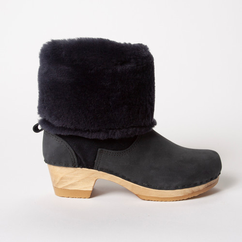 "11"" Navy Shearling Clog Boots - Mid Heels"