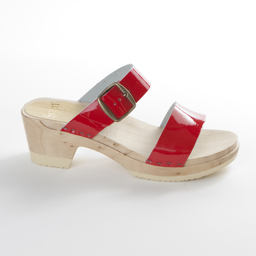 Red Patent Leather and Natural Base
