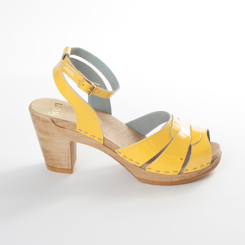 Yellow Patent Leather and Brown Base