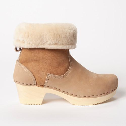 "7"" Cream Shearling with Mocha - Mid Heels"