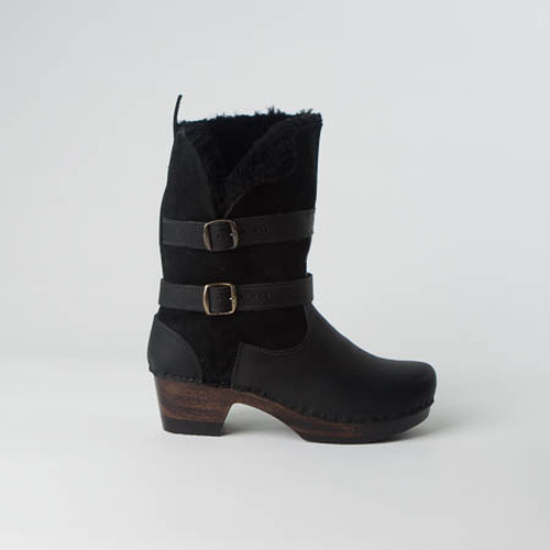 Black Shearling with Cocoa Base