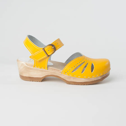 Yellow Smooth Leather with Brown Base