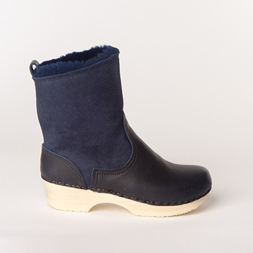 "7"" Clog Booties - Navy Shearling -  Low Heel"